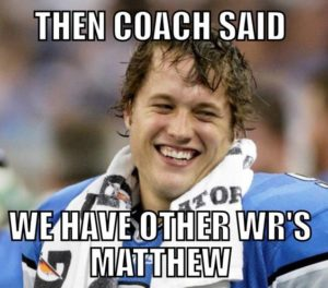 Did the Lions bench Golden Tate?  Someone needs to bench Jim Caldwell!